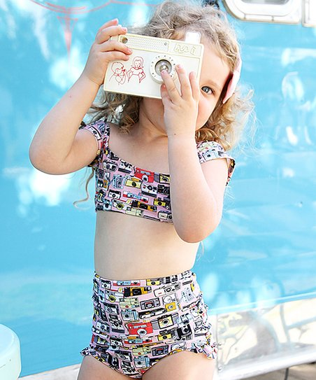 c725a6f093 love this product Pink Vintage Camera High-Waist Bikini - Toddler & Girls