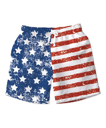 c24d319f6d Sunshine Swing Red & Blue US Flag Swim Trunks - Toddler & Boys | Zulily