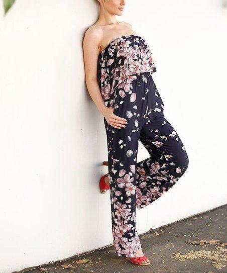 0e4faba76a1e love this product Navy Floral Off-Shoulder Jumpsuit - Women