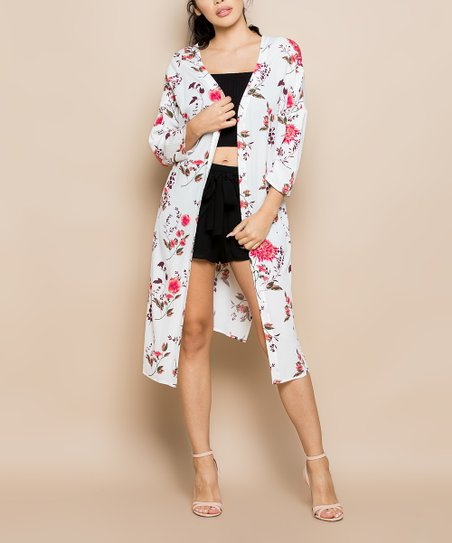 10b90e6a3c Miss Love White & Pink Floral Kimono - Women   Zulily