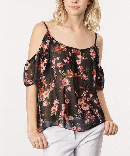 9b4efd1490e My Beloved Black Floral Chiffon Cold-Shoulder Top - Women