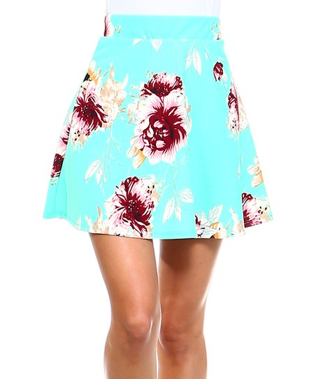 a6699838beef love this product Aqua Floral A-Line Skirt - Women   Plus