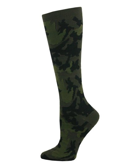 ff202208986 Think Medical Green Camo Compression Knee-High Socks