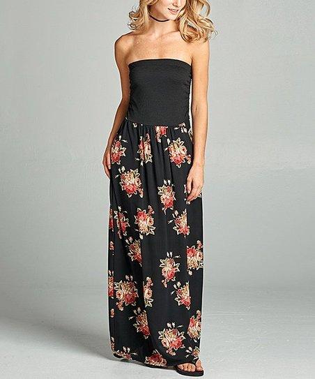 0fa09826119f2 Paolino Black Floral Strapless Maxi Dress | Zulily