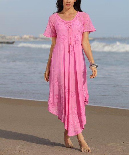 6245de4659f Anandas Collection Light Pink Sheer Embroidered Handkerchief Dress ...