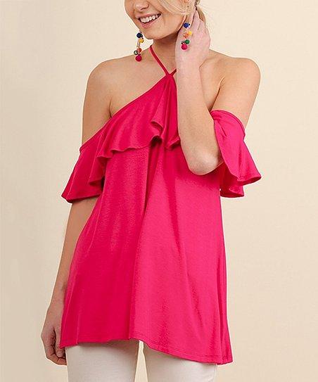 b06a0fe0c70c05 UMGEE U.S.A. Hot Pink Ruffle Cold Shoulder Halter Top
