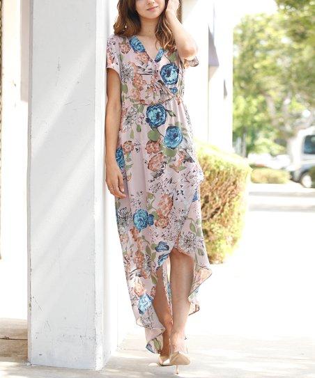 17d42a99f13 egs by éloges Dusty Pink Floral Tulip-Hem Surplice Maxi Dress ...
