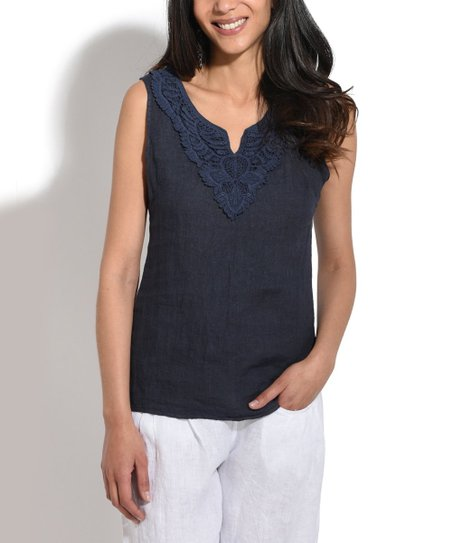 30a5dae48cdca4 love this product Navy Blue Linen   Lace Notch Neck Sleeveless Top - Plus  Too