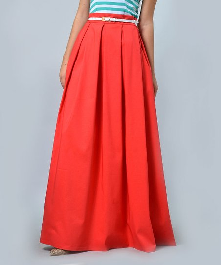 814ac3c184 Lila Kass Coral Pleated Maxi Skirt - Plus Too | Zulily