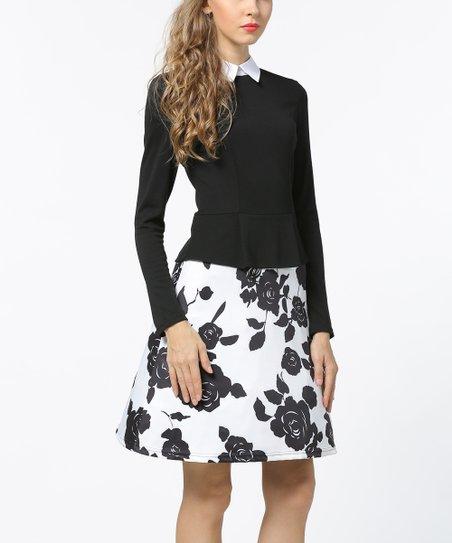 Sucrefas Black White Floral Long Sleeve Peplum Dress Zulily