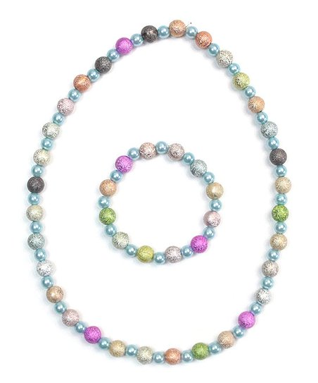 Blue And Pink Beaded Necklace And Bracelet Jewellery & Watches Sets