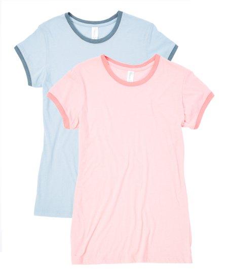 Pima Apparel Light Blue & Light Pink Ringer Tee Set - Women