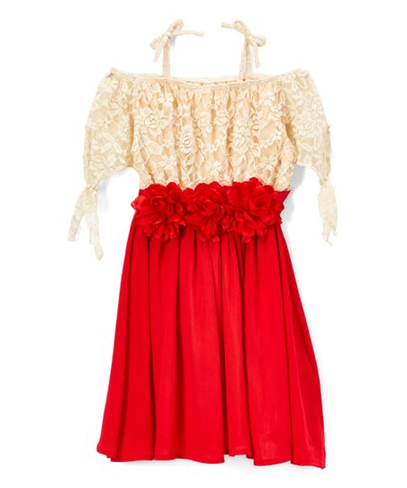 d588cb8024b8 love this product Red   Cream Floral-Waist Off-Shoulder Dress - Girls