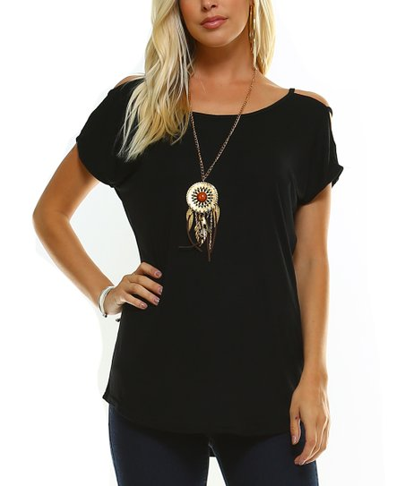 a31366e7eebc love this product Black Strappy Scoop Neck Cold-Shoulder Top - Plus Too