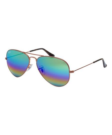 e9ee9bad53 love this product Bronze   Green Rainbow Flash Aviator Sunglasses - Women