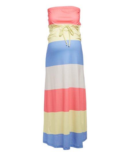 0b712fedf1274 Mom & Co Coral & Blue Color Block Maternity Maxi Dress | Zulily