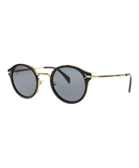 a5b8aa1fa60 Celine Black-Gold Round Sunglasses