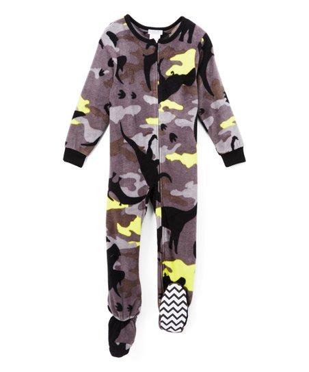 love this product Yellow   Black Camo Dinosaur Footie Pajamas - Boys 010e9f6d1