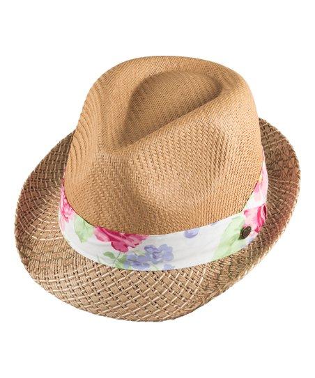 Millymook   Dozer Beige   Pink Floral Fedora - Girls  b8379d6020f