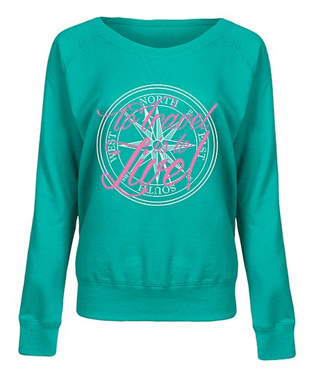 Jade To Travel Is to Live Compass Slouchy Pullover - Women