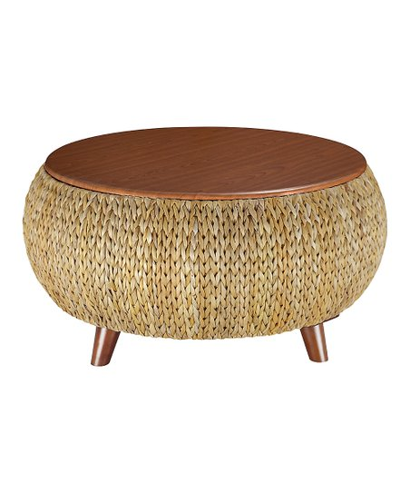 Gallerie Decor Natural Round Storage Coffee Table Zulily