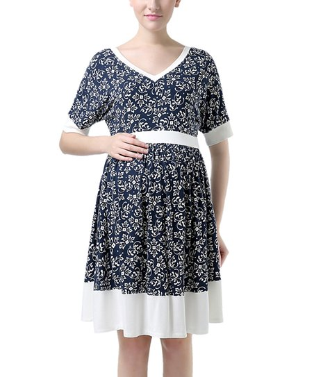 351f00120f MOMO Maternity Kimi + Kai Denim Blue Floral Maternity Dress