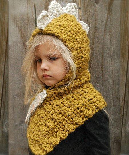 6df3777c6 Fab Findz Mustard Knit Dinosaur Neck-Warmer Beanie | Zulily