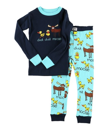 8211a7fe7 Lazy One Blue Duck Duck Moose Pajama Set - Toddler