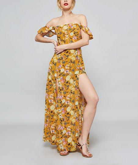 fa89a637c9ea love this product Mustard Floral Leg-Slit Off-Shoulder Maxi Dress