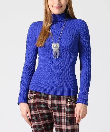 Royal Blue Turtleneck Knit Long Sleeve Top Women | Best