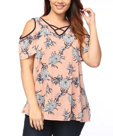 09cc8c4b7e7736 love this product Peach   Denim Floral Cold-Shoulder Top - Plus