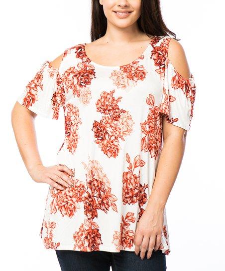 23d77d5448f34e MISIA PLUS Ivory Floral Cold-Shoulder Top - Plus