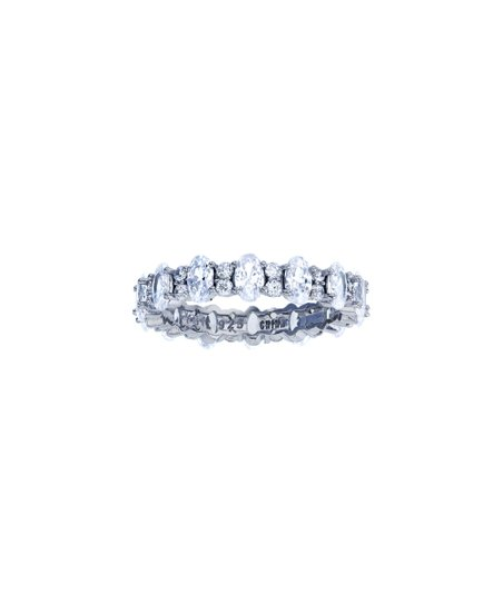 Sterling Silver Rhodium 5mm Oval /& Round CZ Eternity Ring