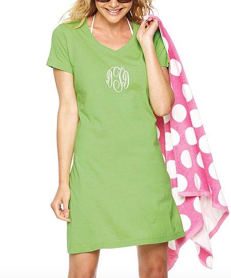 0449339b26a9 Aggie Gray Key Lime Monogram T-Shirt Dress