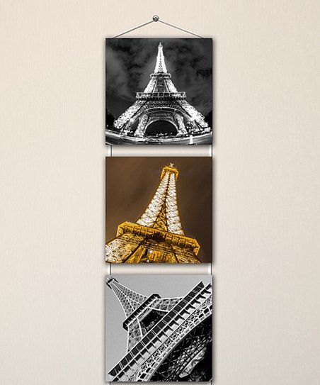 K Decoration Eiffel Tower Perspectives Three Panel Hanging Wall Art