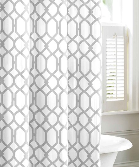 Gray Shoretown Trellis Shower Curtain