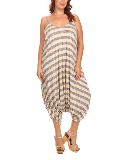 8e0ce6630990 CANARI Gray & Tan Stripe Harem Jumpsuit | Zulily