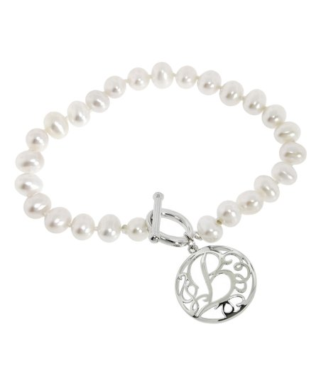 Cultured Pearl Sterling Silver Initial Bracelet