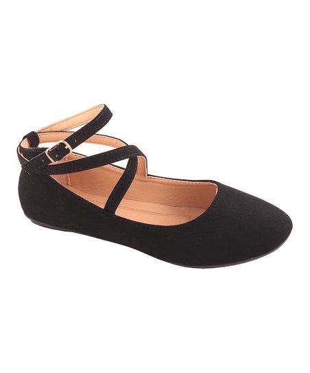 Belladia Black Ankle Strap Flat - Women