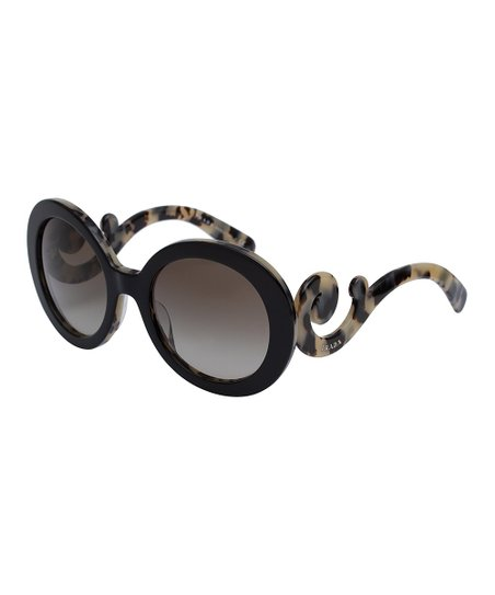 0c5b9bbc17f Prada Black   Cream Swirl Oversize Round Sunglasses
