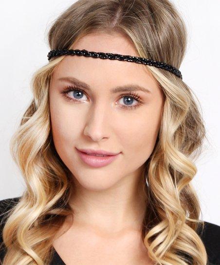 Riah Fashion Black Braided Stretch Headband  0a6161da58f