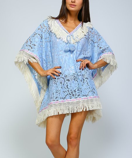 love this product Turquoise Floral Fringe-Trim Swimsuit Cover-Up - Plus e089da66b