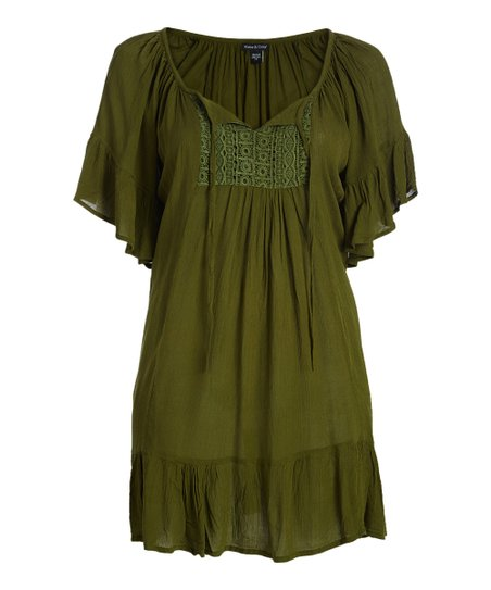 Alisha & Chloe Olive Lace-Accent Peasant Dress - Plus | Zulily