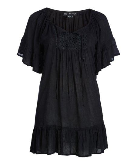 Alisha Chloe Black Lace Peasant Dress Plus Zulily