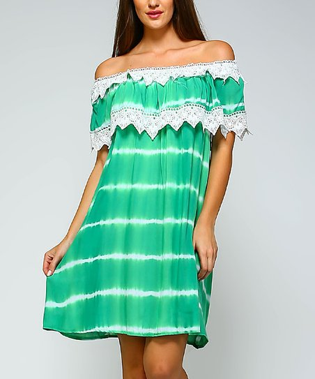 4ac49566ebc3 love this product Green   White Tie-Dye Off-Shoulder Dress - Plus