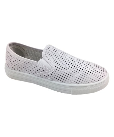 d84676eb25ab Ositos Shoes White Perforated Slip-On Sneaker - Women | Zulily