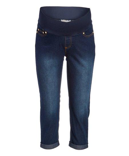 4212e7746575a Times 2 Dark Wash Under-Belly Skinny Capri Maternity Jeans | Zulily