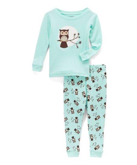 88309b0ba Leveret Mint Owl Pajama Set - Girls