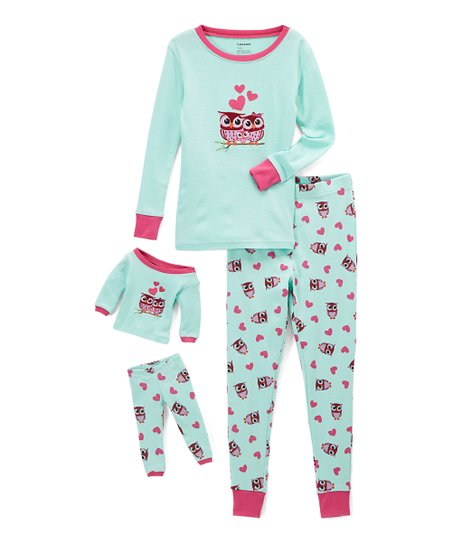 f9e5eff09047 Leveret Aqua   Pink Owl Pajama Set   Doll Outfit - Toddler   Girls ...