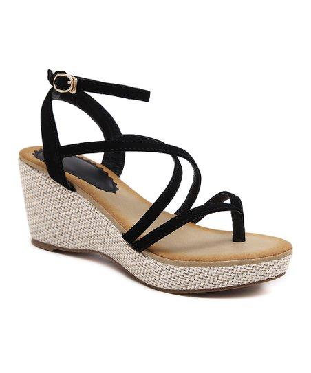 7fddf1af685 Siketu Black Strappy Wedge Sandal - Women